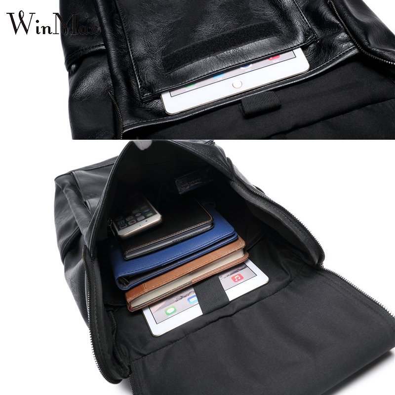 Image 4 - WInmax PU Leather Backpack Men Business Rucksack Fashion Bag Student Schoolbags Men Travel Bags for Teenagers BackpacksBackpacks   -