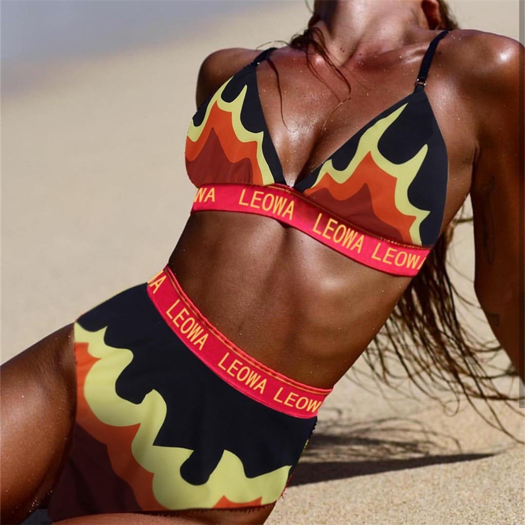 2019 Summer Sports Outdoor Beach Women Plus Size Two Piece Swimsuit Bikini Set Letter Flame Print Sling Swimwear