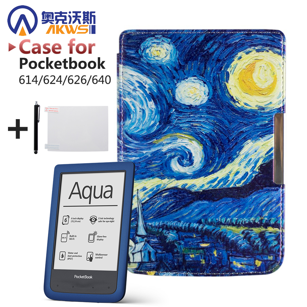 Protective Shell For Pocketbook 614/624/626/640 Luxury Pu Leather Cover Case Ereader Case Free Shipp+protective Film+stylus