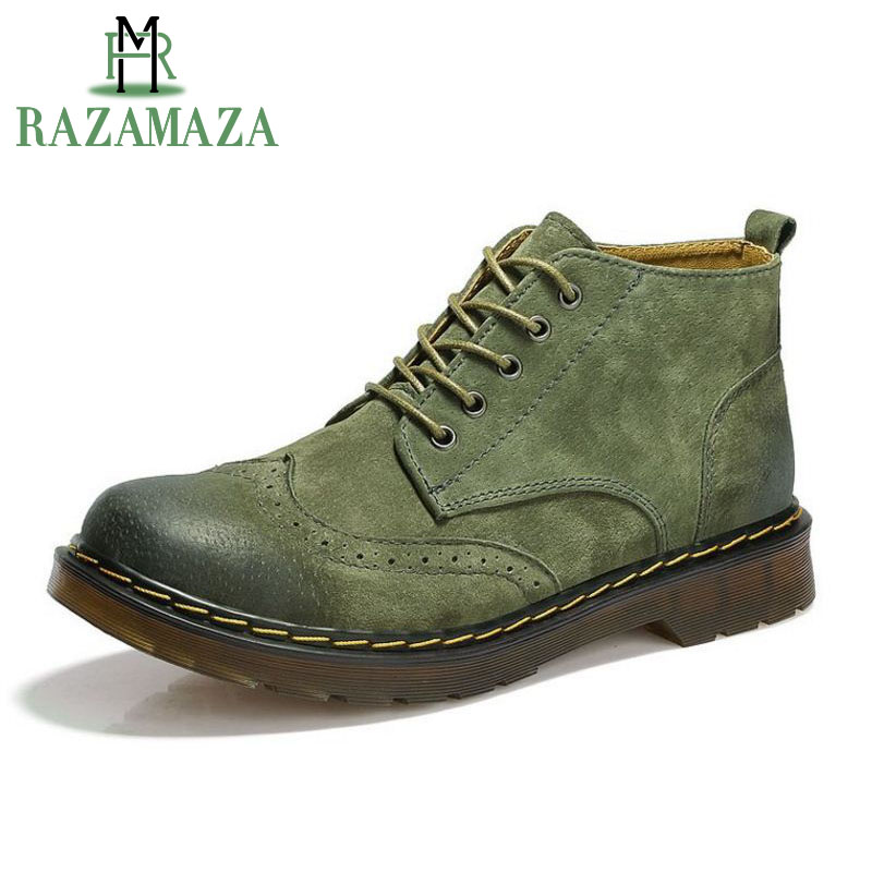 RAZAMAZA Men Genuine Leather Ankle Boots Fashion Men Lace Up Shoes Footwear Casual Short Boot Brown Gray Green Size 38-44 men s fashion casual cotton pants brown size 33