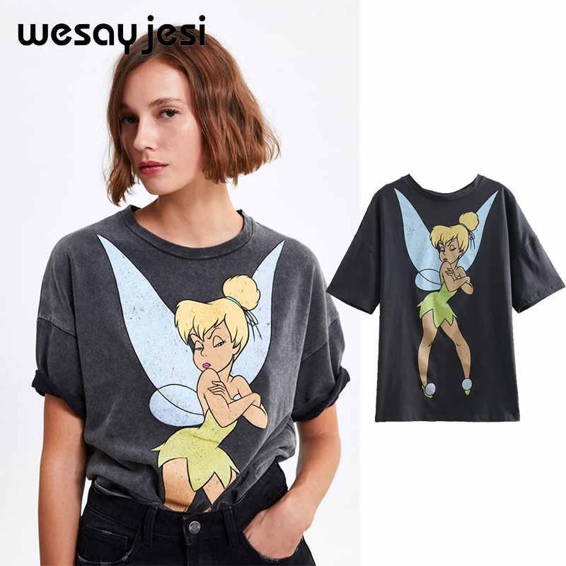 2019 yaz moda t shirt kadın harajuku yüksek streetwear karikatür melek baskı % 100% pamuk o-boyun gevşek gömlek tops artı boyutu