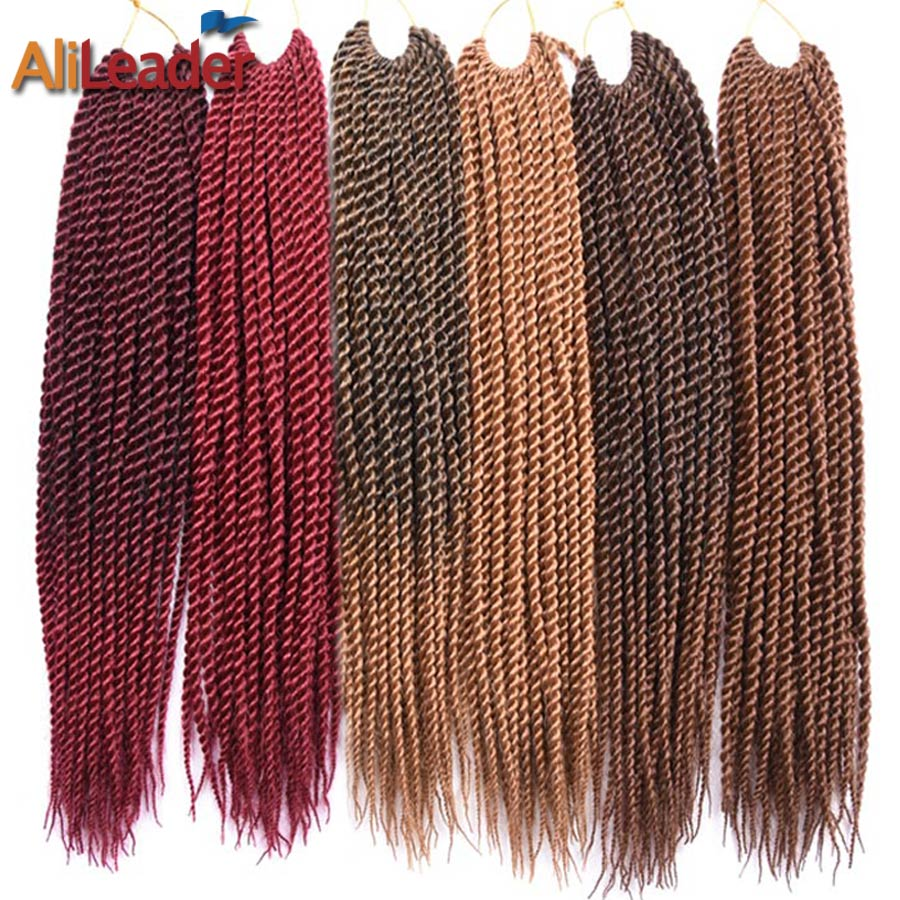 "AliLeader Products Pre Twist Crochet Hair Extensions 7 Packs Ombre Kanekalon Crochet Braids Senegalese Twist Hair 18"" 30Strands"