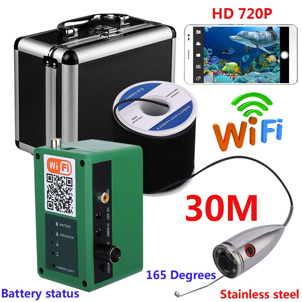 GAMWATER 720P Wifi Wireless Underwater Fishing Video Camera Stainless Steel 30M For IOS Android APP Supports