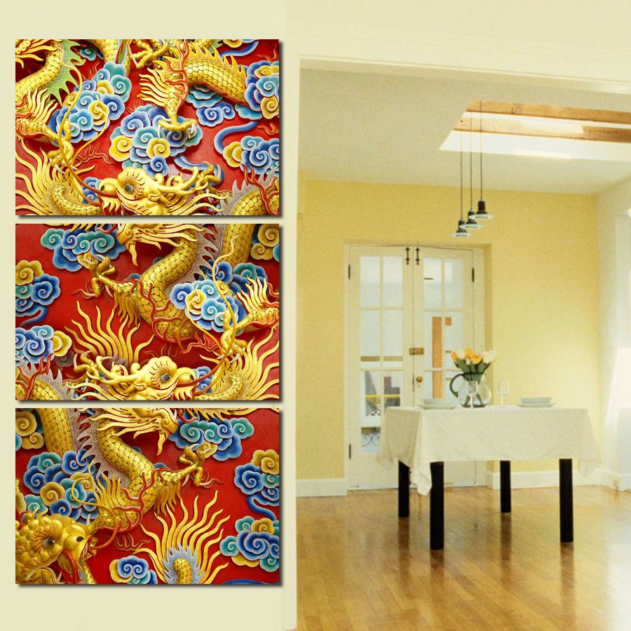 Wall Art 5 Panel Canvas Painting China Dragons Modern Artwork Prints ...