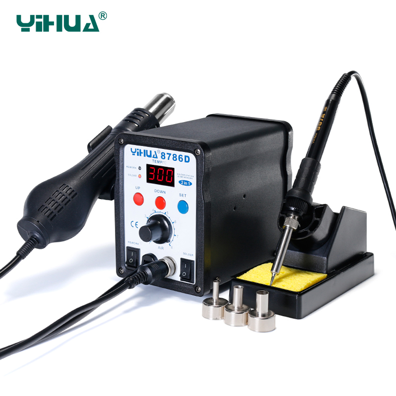 Tools : YIHUA 8786D Upgrade Rework Soldering Station 2 in 1 SMD Hot Air Gun Thermoregulator Soldering Iron 700W BGA Welding Tool Station
