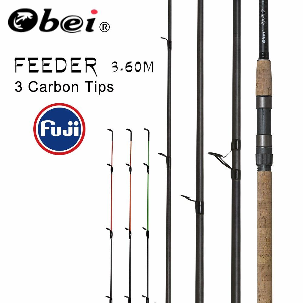Alimentador de vara de pesca fiação lançando obei Viagem Rod 3.6m vara de pesca fuji Alimentador Carpa 40-200g pólo