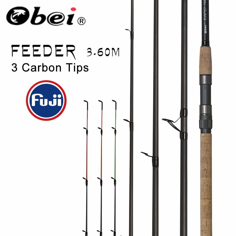 obei feeder fishing rod spinning casting Travel Rod 3.6m vara de pesca fuji Carp Feeder 40 200g pole
