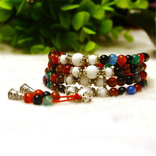 Natural Stone Mix Color Agate Bracelet Round Bead Silver Alabaster Lucky Bangle Women Crystal Quartz Jewelry Love Energy Gift