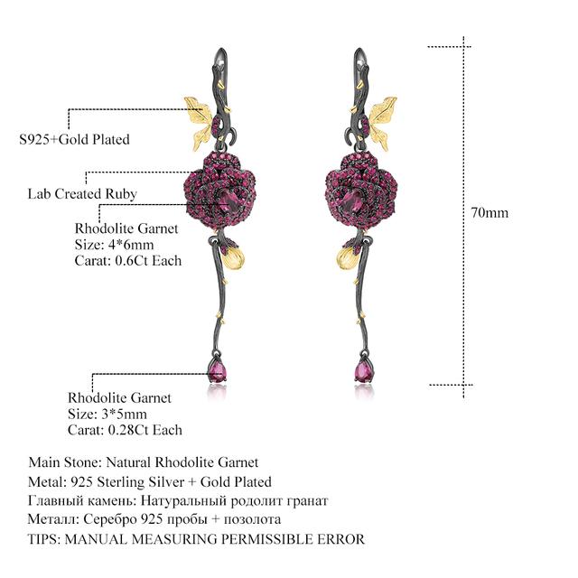 GEM'S BALLET 1.76Ct Natural Rhodolite Garnet Earrings 925 Sterling Silver Handmade Flower Drop Earrings for Women Fine Jewelry