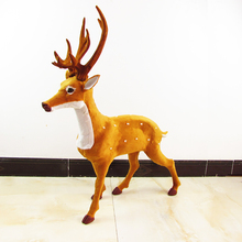 huge simulation  deer toy polyethylene & furs big sika deer model gift 67x80cm