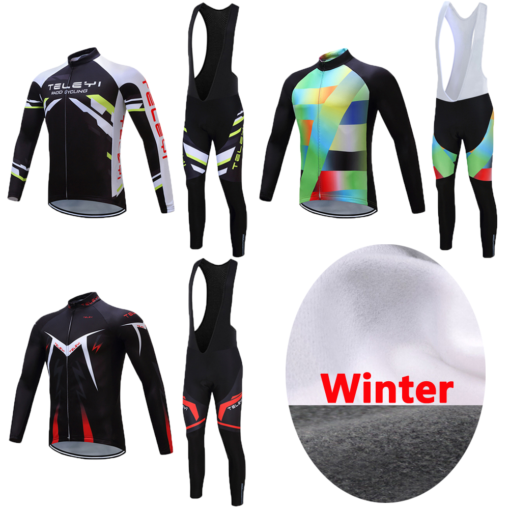 Men Long Sleeve Winter Thermal Fleece Cycling Clothes Road Bike Jersey Bicycle Clothing Cartoon MTB Jacket Maillot Outfits Wear