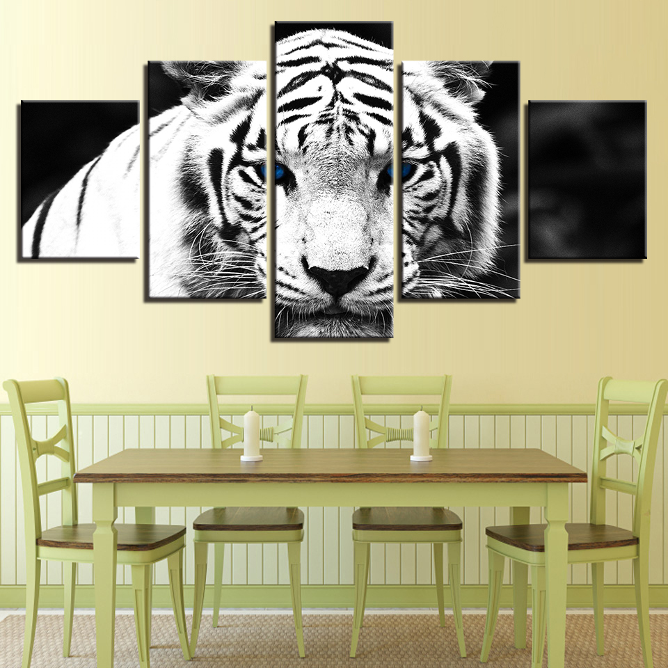 Ornament Wall Posters Body Modular Image Artwork Residence 5 Panel Animal Tiger Residing Room HD Printed On Canvas Trendy Portray Portray & Calligraphy, Low-cost Portray & Calligraphy, Ornament Wall...