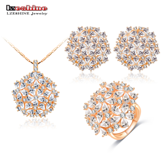 LZESHINE Flower Jewelry Sets Silver Plated Created Diamond Inlayed Bridal Women Jewelry Pendants/Earrings /Ring Set CST0044