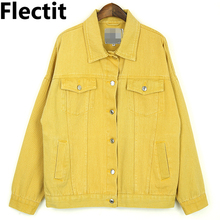 Flectit 2019 High Quality Candy Colored Denim Jacket Women Oversize Long Sleeve with Lapel Pocket Loose-Fit Female Jeans Jackets