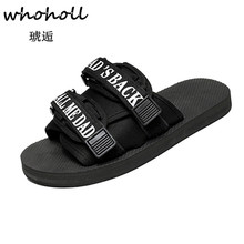 Whoholl Soft Comfortable Flip Flops Fashion Outdoor Sea and Beach Casual Men Slipper Black White Home Slippers Male Non-slip