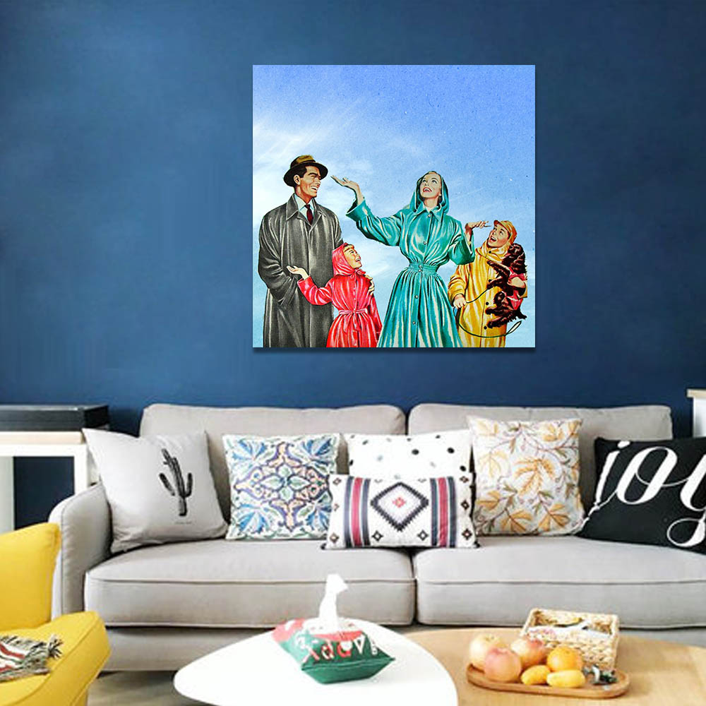 Unframed HD Canvas Prints Oil Painting Blue Sky Family Prints Wall Pictures For Living Room Wall Art Decoration Dropshipping