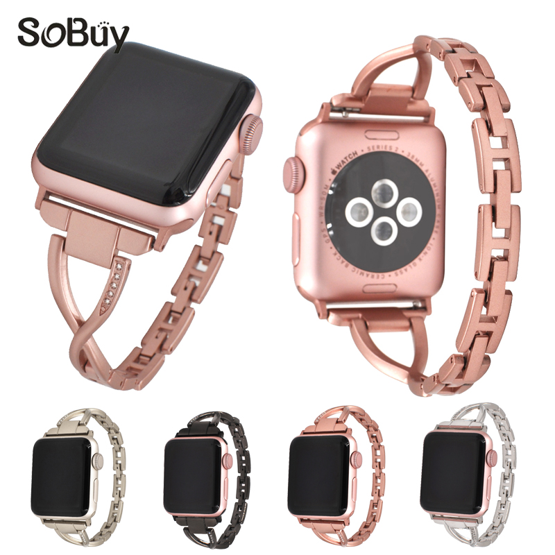 So buy inlay diamond stainless steel Female watchband for apple watch iwatch series 1 2 3 Wrist band 38mm Ms strap 42mm bracelet