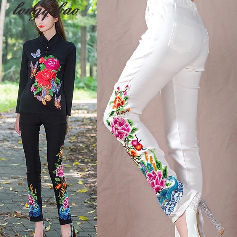 Noir Et Blanc Pantalon Printemps Automne Femmes Nouvelle Grande Taille  Casual Broderie Fleurs Maigre Élastique Taille Pantalon Long TB112 091de387a6b