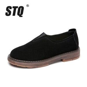 Image 2 - Stq 2020 primavera mulher apartamentos sapatos mulher deslizamento em mocassins planos camurça sapatos de couro artesanal de borracha barco sapatos preto oxfords 1702