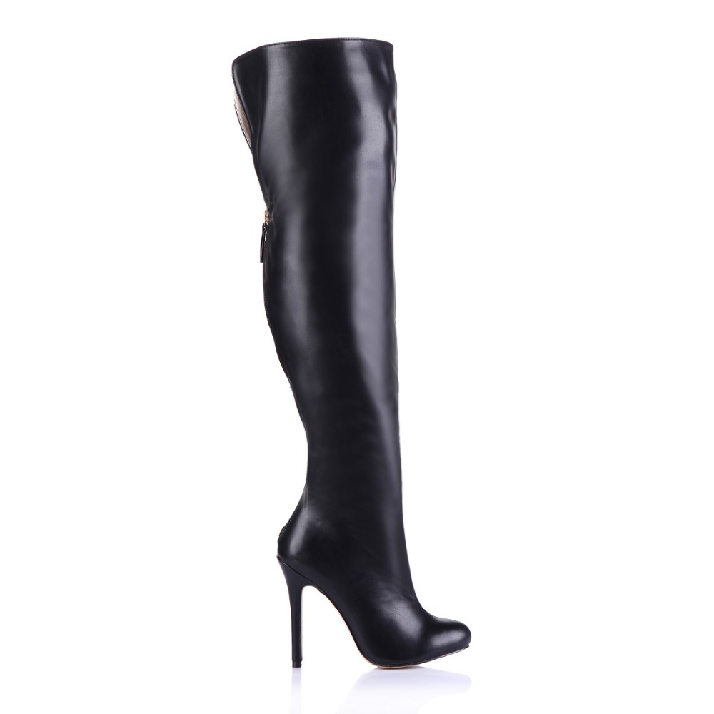 Big Size 35-43 Black Women Boots Soft Leather Over The Knee Thigh High Boots Autumn Winter Shoes stiletto Heels botas femininas 2018 winter thigh high boots women faux suede leather high heels over the knee botas mujer plus size shoes woman 34 43