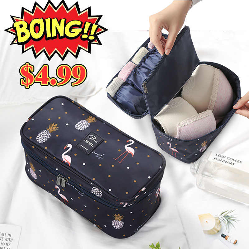 Travel Underwear Organiser,New Flamingo Large Capacity Waterproof Women Ladies Bra Case Travel Pouch Bag Multiple Pockets