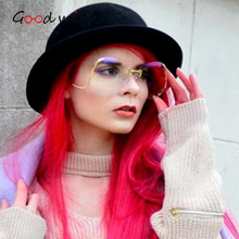 Good Win Luxury Gradient Sunglasses Women Clear Transparent Fashion Rimless Oversized Female Male Shades