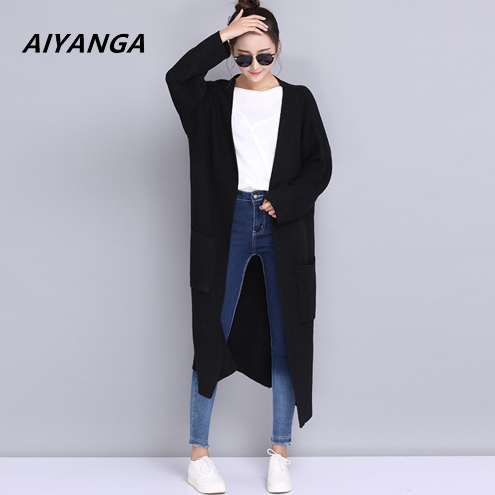 AIYANGA Oversized Casual Long Knitted Cardigan Ladies 2017 Autumn Korean Women Loose Solid Color Pocket Design Sweater Coat