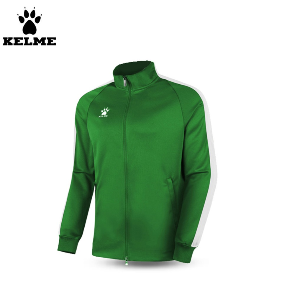 ФОТО Kelme K15ZK77 Men's Spring And Autumn Long Sleeve Stand Collar Zipper Training Knit Jackets Green White