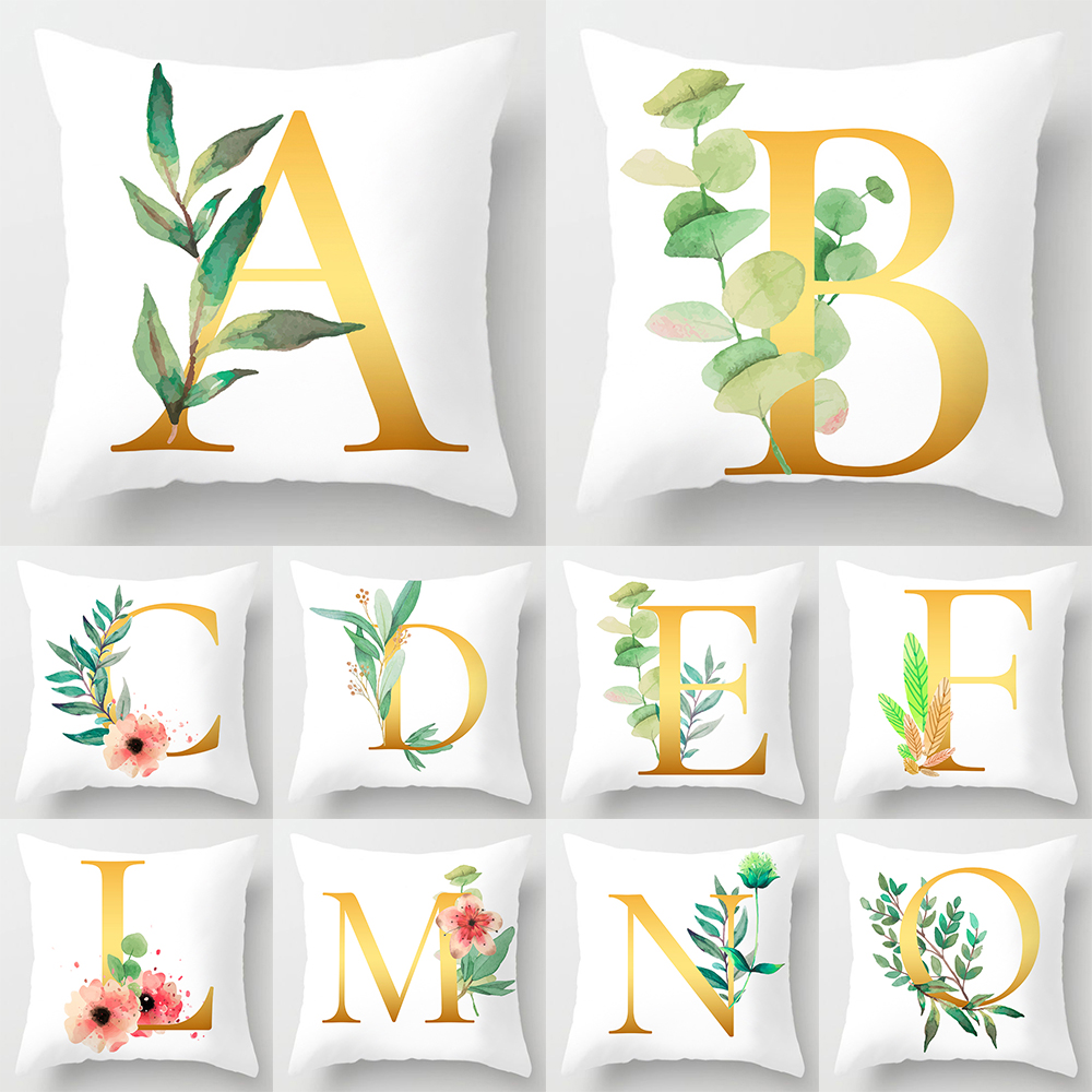 Table & Sofa Linens Home & Garden New Fashion Flower Wreath With Blue Letter Pillow Case 45*45 Print Pillow Cases Polyester Sofa Car Cushion Cover Home Wholesale