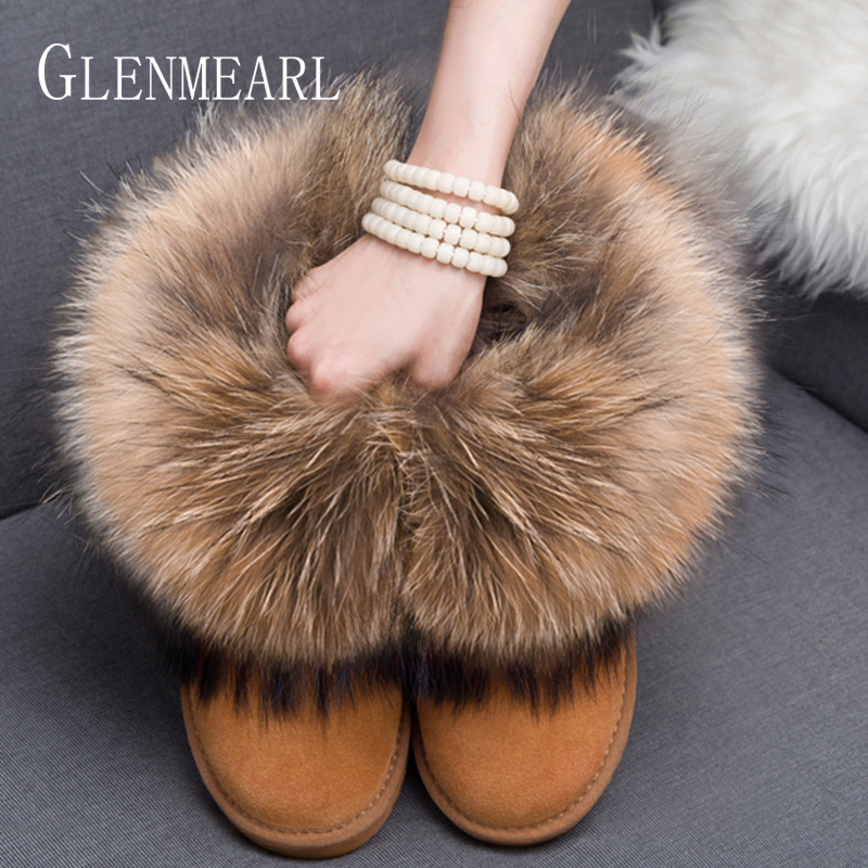 Women Boots Genuine Leather Real Fox Fur Brand Winter Shoes Warm Black Round Toe Casual Plus