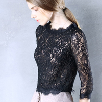 Womens Top Lace Long Sleeve O Neck T Shirt All Match Tee Black Gray White T