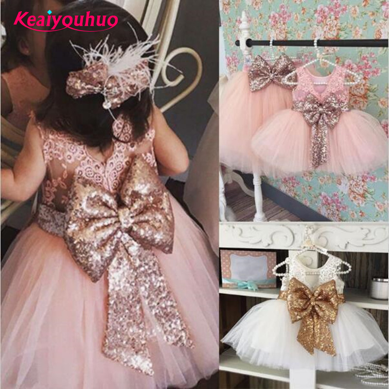 2018 New Lace Baby Girl Dress for Christmas Party Baby Girl cute bow Dresses for Toddler Girls 1 Years Birthday princess dress pudcoco baby girls dress toddler girls backless lace bow princess dresses tutu party wedding birthday dress for girls easter