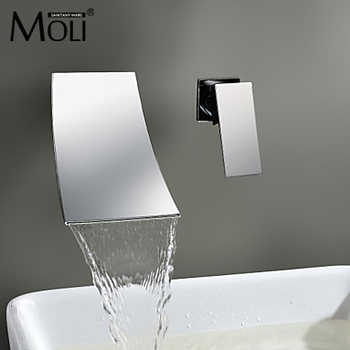 Waterfall Wall Mount Bathroom Faucet Single Handle Basin Mixer Tap Chrome Brass Spout Vanity Sink Spout Waterfall Faucets LT304 1