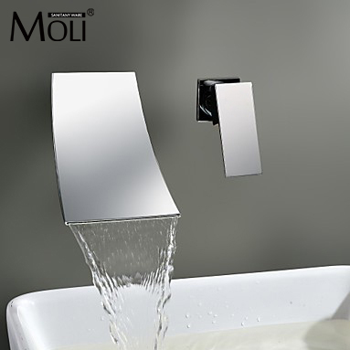 Waterfall Wall Mount Bathroom Faucet Single Handle Basin Mixer Tap Chrome Brass Spout Vanity Sink Spout Waterfall Faucets LT304