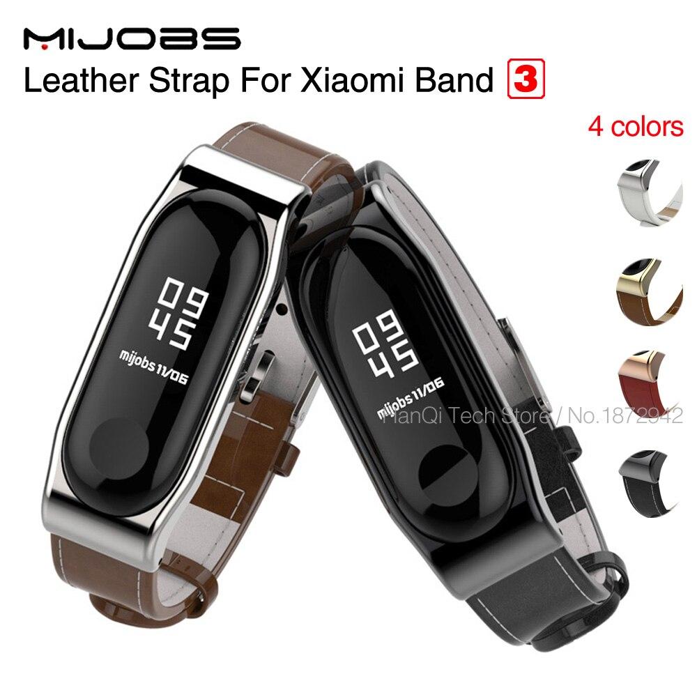 Mi emplois pour Xiao mi mi bande 3 Dragonne Ceinture Véritable Bracelet En Cuir pour mi Band3 Bracelet À Puce pour xiao mi Bande 3 Accessoires