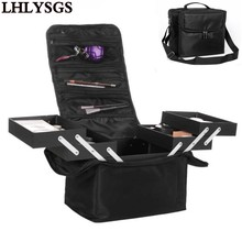LHLYSGS Brand Women Beauty Professional Cosmetic Case Large Multilayer Clapboard Organizer Makeup Tattoos Nail Art Tool Bin Bag