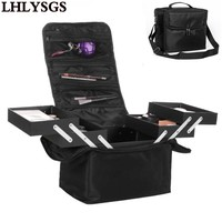 LHLYSGS Brand Women Beauty Professional Cosmetic Case Large Multilayer Clapboard Organizer Makeup Tattoos Nail Art Tool