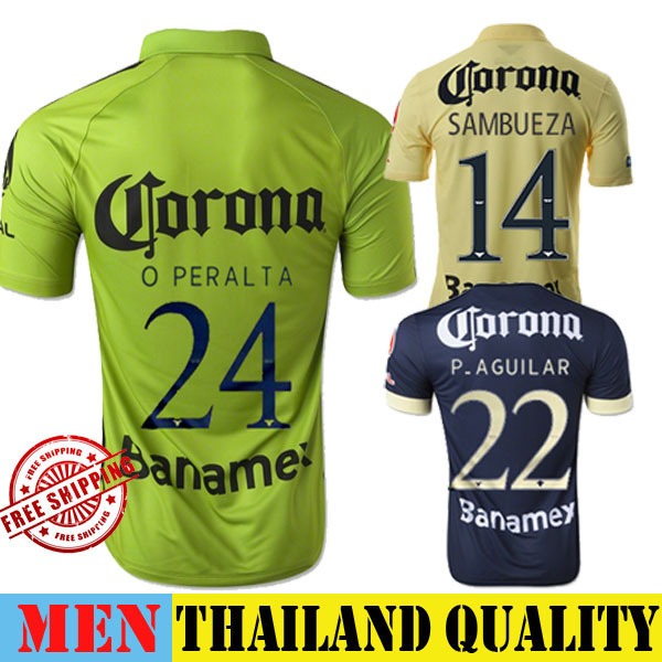 905a20950d2 Club America Jersey 2015 Third Green O PERALTA SAMBUEZA Soccer Jersey 14 15  Home Yellow Away Black America Football Shirt 3RD