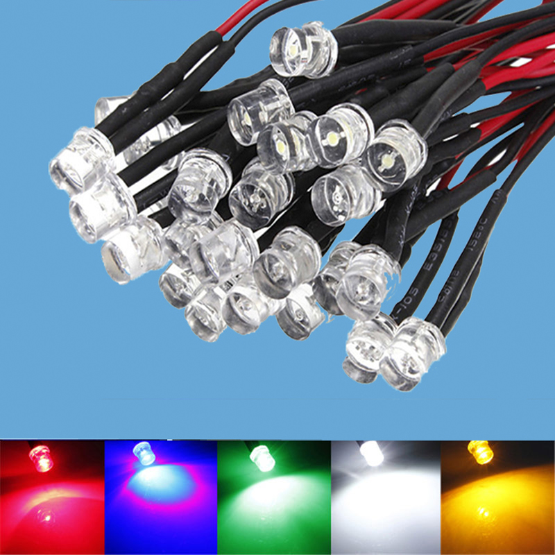 10 FLASHING LEDS 3mm PRE WIRED 12 VOLT BLUE 12V BLINK PREWIRED 3mm BLINKING