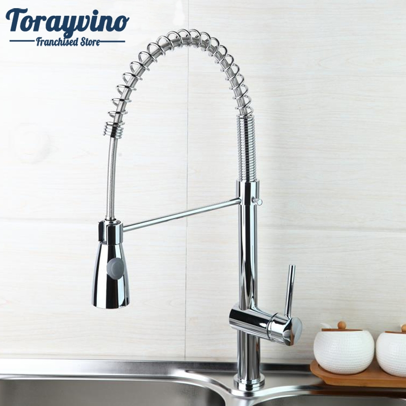 High Quality Chrome Polished Water Faucet Solid Brass Kitchen Faucet Swivel & Pull Down Spout Vessel Sink Mixer Tap wanfan modern polished chrome brass kitchen sink faucet pull out single handle swivel spout vessel sink mixer tap lk 9906