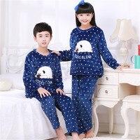 Zima Polar Zagęścić Ciepłe Flanelowe Piżamy Piżamy Dla Dzieci Dziewczyny Salon Chłopiec Koral Polar Dzieci Pijamas Piżama Homewear Zestawy