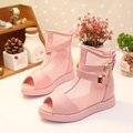 Alta de malha sandálias de verão sapatos de festa Meisjes Schoenen meninas crianças sandálias boca de peixe TX215