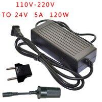 120W Power converter ac 220v(100~250v) input dc 24 V 5A output adapter car power supply cigarette lighter plug