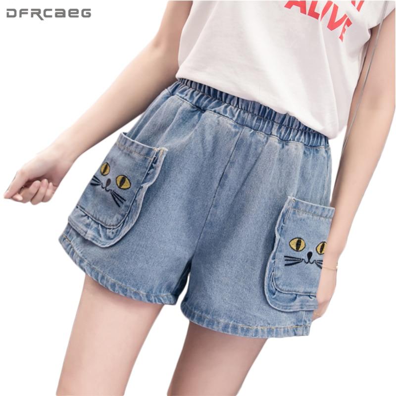 621015a28 Más tamaño mujeres Denim Pantalones cortos 2018 nuevo Primavera ...