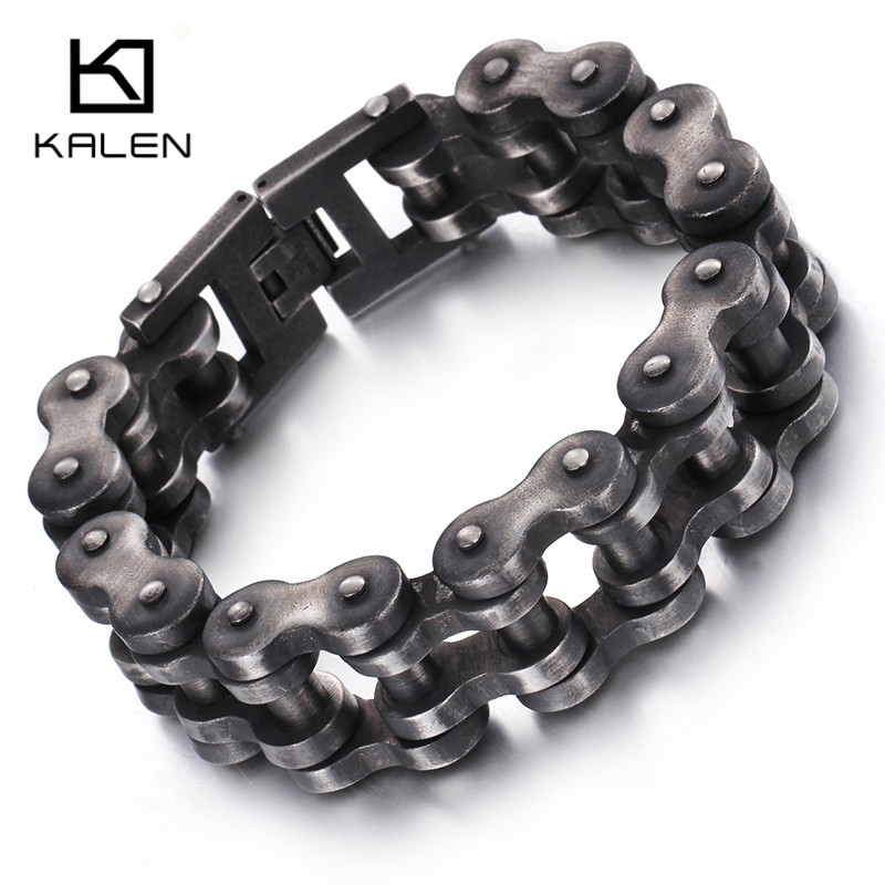 Kalen Punk Brushed Bike Chain Bracelet Oxidized Dark Bicycle Chain Men Bracelet Fashion Male 316L Stainless Steel Hand Chain
