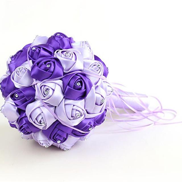 Alta Calidad Decoración de La Boda Flores de Satén Rosa de dama de Honor ramo de Novia ramo de Flores de Novia Blanco Satinado Boda Romántica