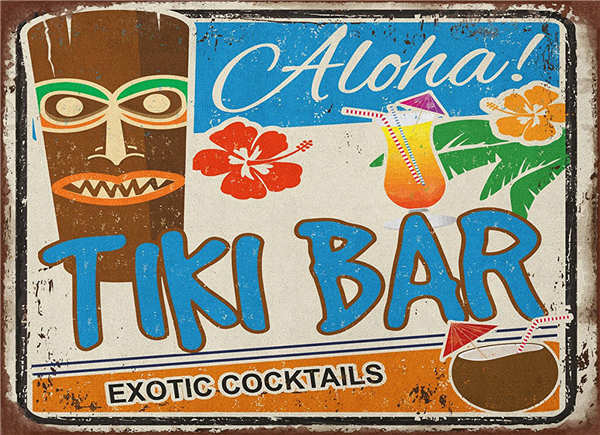 Zjy Vintage Home Decor Tiki Hut Lounge Metal Signs Bar Poster For Coffee And Size 20 30cm
