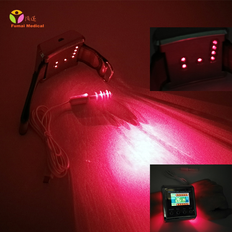 Digital Wrist Medical Laser Watch 650nm Soft Laser for Diabetes Therapy Cholestrol Blood Regulation High Blood Pressure Sugar CE laser therapy home wrist type laser watch low frequency high blood pressure high blood sugar diabetes red light laser therapy
