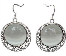 цены на Round Ethinc Jewelry Hanging Earrings Red Green Stone Drop Earring 925 Silver natural gem/stone/coral/opal Marcasite Earrings  в интернет-магазинах