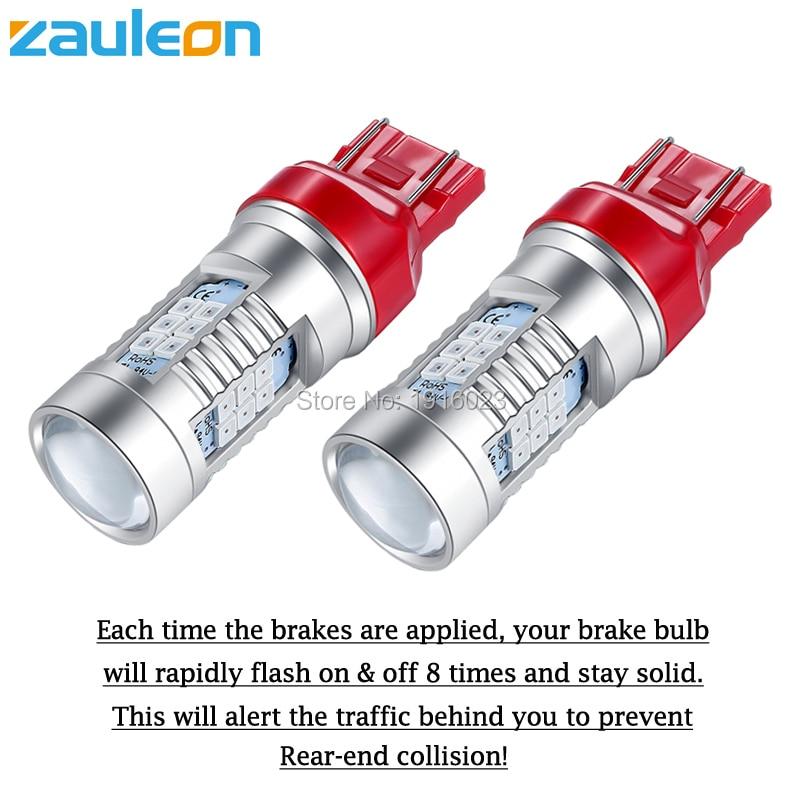 2 Quality 7443 Red Flash Strobe Blinking Alert Safety Brake Tail Stop Light Bulb